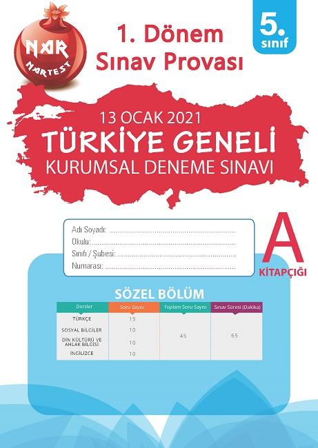 5. Sınıf Kurumsal Deneme A Sözel Kitapçığı Türkiye Geneli 1. Dönem Sınav Provası 2021