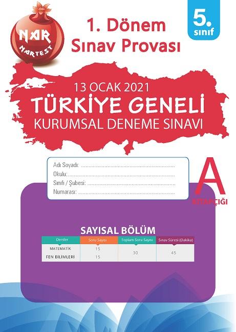 5. Sınıf Kurumsal Deneme A Sayısal Kitapçığı Türkiye Geneli 1. Dönem Sınav Provası 2021