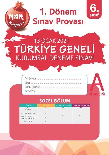 6. Sınıf Kurumsal Deneme A Sözel Kitapçığı Türkiye Geneli 1. Dönem Sınav Provası 2021
