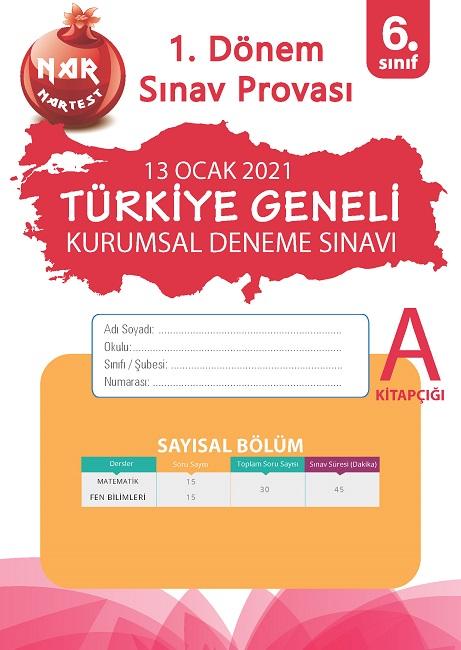 6 Sınıf Kurumsal Deneme A Sayısal Kitapçığı Türkiye Geneli 1. Dönem Sınav Provası 2021
