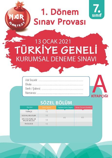 7. Sınıf Kurumsal Deneme A Sözel Kitapçığı Türkiye Geneli 1. Dönem Sınav Provası 2021