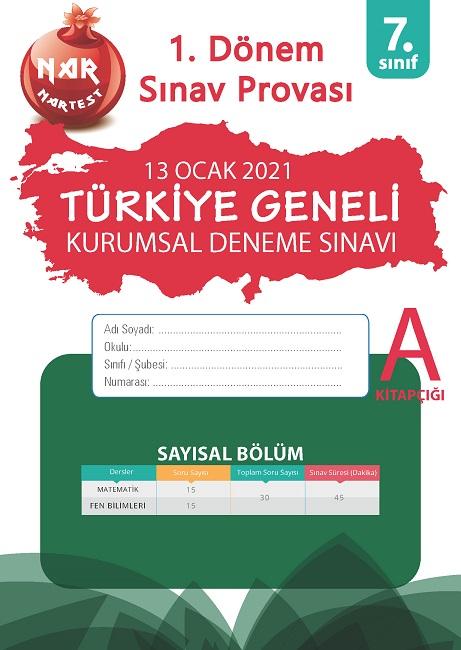 7. Sınıf Kurumsal Deneme A Sayısal Kitapçığı Türkiye Geneli 1. Dönem Sınav Provası 2021