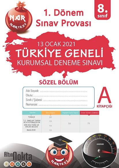 8. Sınıf Kurumsal Deneme A Sözel Kitapçığı Türkiye Geneli 1. Dönem Sınav Provası 2021