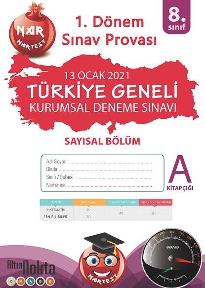 8. Sınıf Kurumsal Deneme A Sayısal Kitapçığı Türkiye Geneli 1. Dönem Sınav Provası 2021