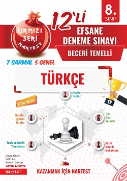8. Sınıf Kırmızı Nar Efsane Türkçe 12 Deneme Sınavı  (7 Sarmal + 5 Genel)